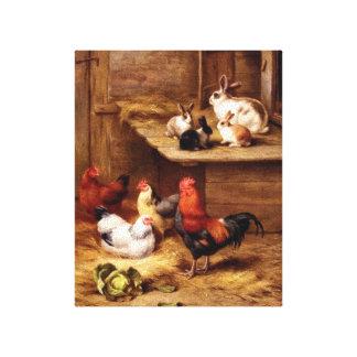 Pintura de los animales del campo del gallo del co impresion de lienzo