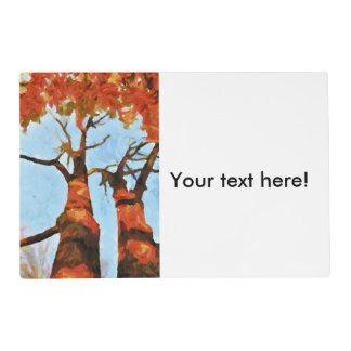 Pintura de los árboles del otoño tapete individual