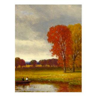 Pintura de los árboles del río del otoño postales