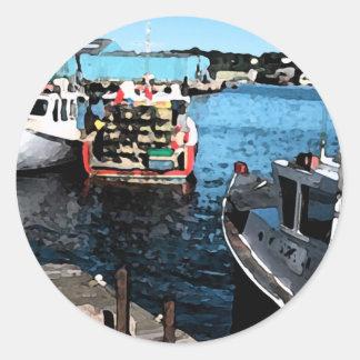 Pintura de los barcos de pesca pegatina redonda