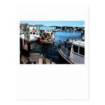 Pintura de los barcos de pesca tarjeta postal