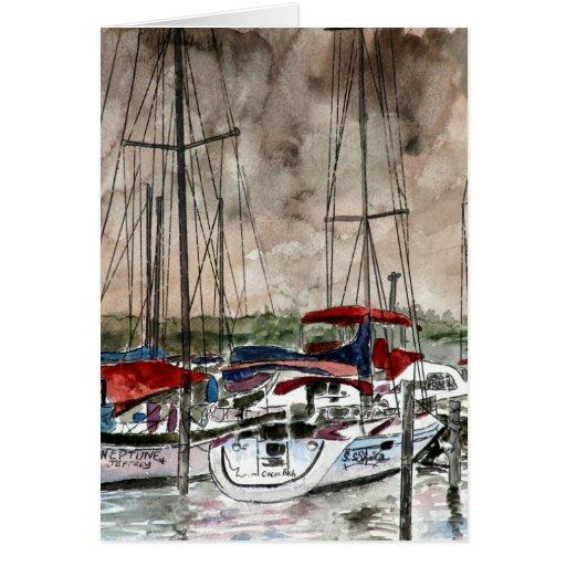 pintura de los barcos de vela en el arte de la pla tarjeta de felicitación