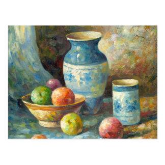 Pintura de los buques de la fruta y de la cerámica tarjeta postal