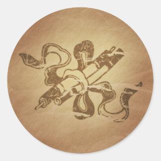 Pintura de los encantos mágicos chinos de los pegatinas redondas