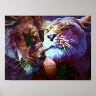 Pintura de los leones 4 póster