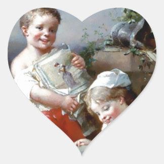 Pintura de los libros de lectura del muchacho y pegatinas de corazon personalizadas