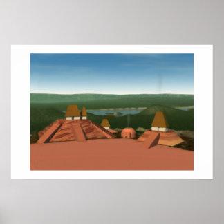 Pintura de los montones de Ocmulgee Posters