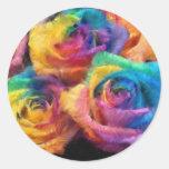 Pintura de los pegatinas de los rosas del arco pegatina redonda