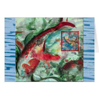 Pintura de los pescados de la carpa de Koi Felicitación