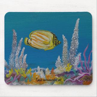 Pintura de los pescados de la mariposa encendido alfombrilla de ratones