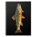 Pintura de los pescados de la trucha de arroyo libro de apuntes con espiral