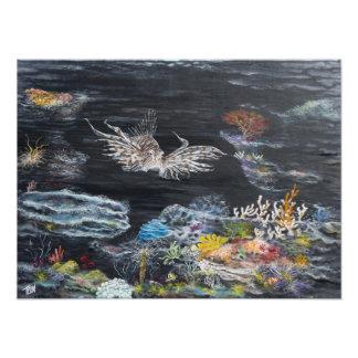 Pintura de los pescados del león encendido impresiones fotográficas