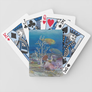 Pintura de los pescados del loro encendido cartas de juego