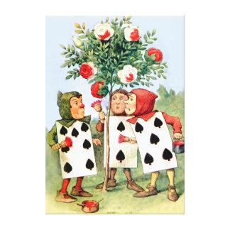 Pintura de los rosas de la reina en el país de las impresiones en lona estiradas