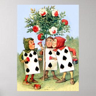 Pintura de los rosas de la reina en el país de las poster