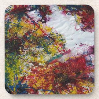 Pintura de mármol verde y amarilla roja abstracta posavaso