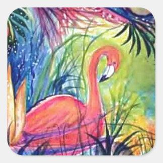 Pintura de medianoche de la acuarela de Sanibel Pegatina Cuadradas