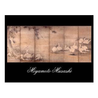 Pintura de Miyamoto Musashi, 1600s de la C. Postal