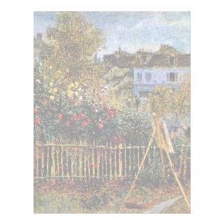 Pintura de Monet en su jardín en Argenteuil Membretes Personalizados