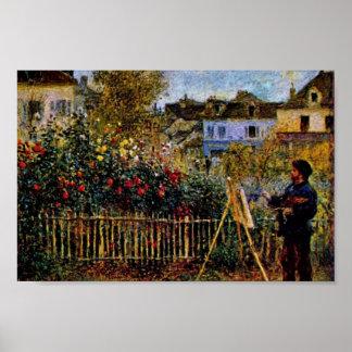 Pintura de Monet en su jardín en Argenteuil Poster