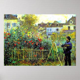 Pintura de Monet en su jardín en Argenteuil Póster