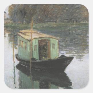 Pintura de Monet Pegatina Cuadrada