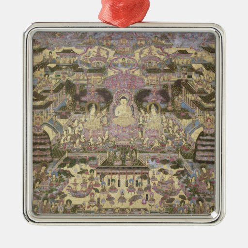 Pintura de mundos espirituales y materiales adorno cuadrado plateado