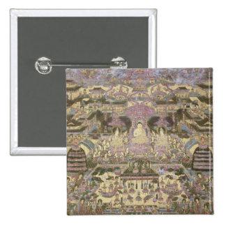 Pintura de mundos espirituales y materiales pin cuadrada 5 cm