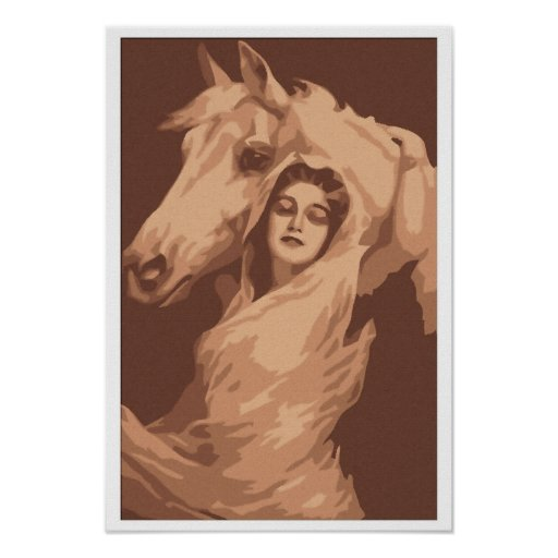 Pintura de Nouveau del arte, mujer joven con el ca Póster