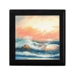 Pintura de ondas en una playa caja de recuerdo