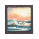 Pintura de ondas en una playa caja de recuerdo de calidad