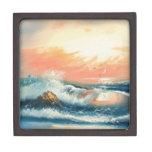 Pintura de ondas en una playa cajas de regalo de calidad
