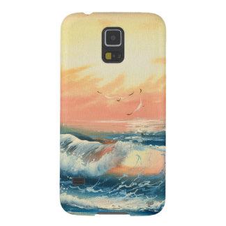 Pintura de ondas en una playa funda para galaxy s5