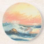 Pintura de ondas en una playa posavasos manualidades