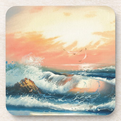 Pintura de ondas en una playa posavasos de bebidas