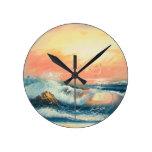 Pintura de ondas en una playa reloj