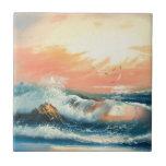 Pintura de ondas en una playa tejas  cerámicas