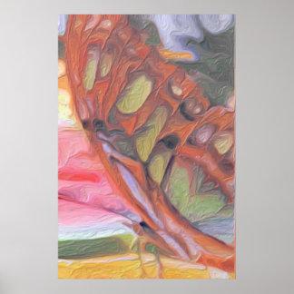 Pintura de oro de la mariposa póster