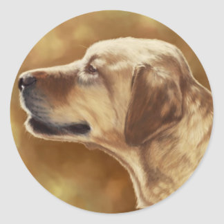 Pintura de oro de Labrador Etiqueta Redonda