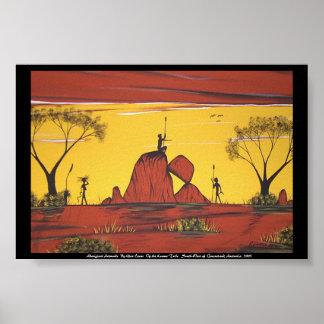 Pintura de paisaje aborigen por la cañada Evans Póster