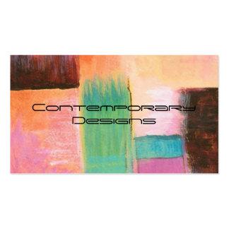 Pintura de paisaje anaranjada rosada del arte tarjetas de visita