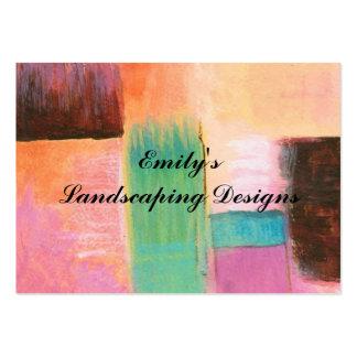 Pintura de paisaje anaranjada rosada del arte tarjetas de visita grandes