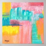 Pintura de paisaje de la ciudad del arte abstracto póster