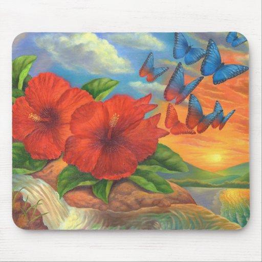 Pintura de paisaje de la mariposa de la fantasía - alfombrilla de ratones