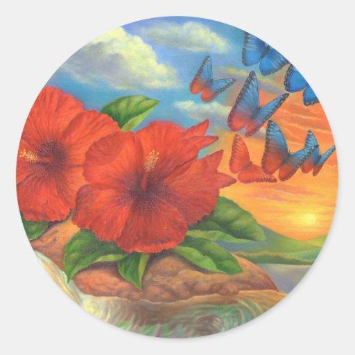Pintura de paisaje de la mariposa de la fantasía - pegatina redonda