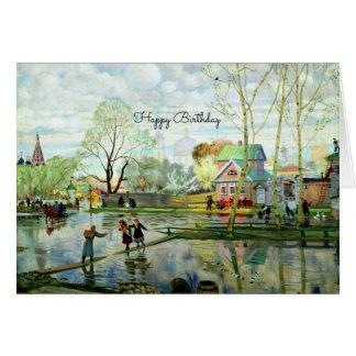Pintura de paisaje de la primavera - feliz cumplea tarjeta de felicitación
