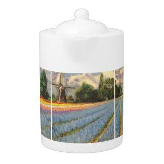 Pintura de paisaje de los campos de flor del molin