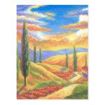 Pintura de paisaje de Toscana - multi Postal