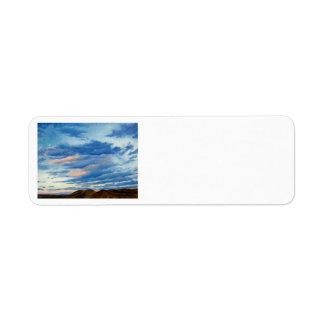 Pintura de paisaje del aceite de la puesta del sol etiqueta de remite