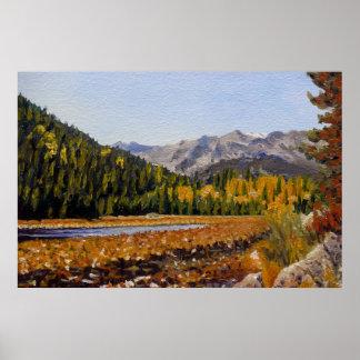 Pintura de paisaje del aceite del lago mountain de posters
